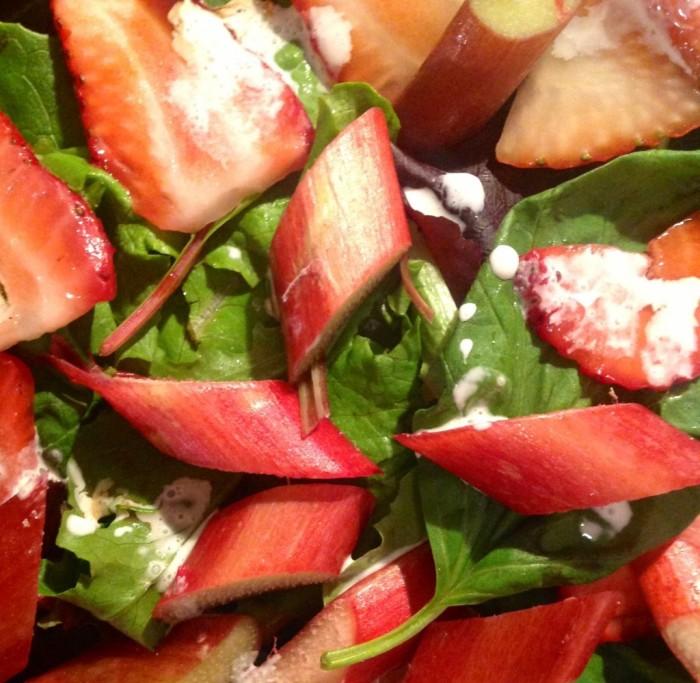 rhubarb, basil, strawberry, cream