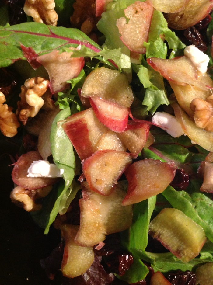 rhubarb, walnut, dried cherry, goat cheese, honey vinaigrette.