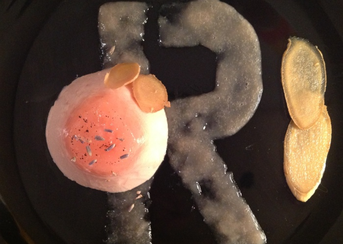 Rhubarb-thyme panna cotta, rhubarb-mint gel, shaved ginger.